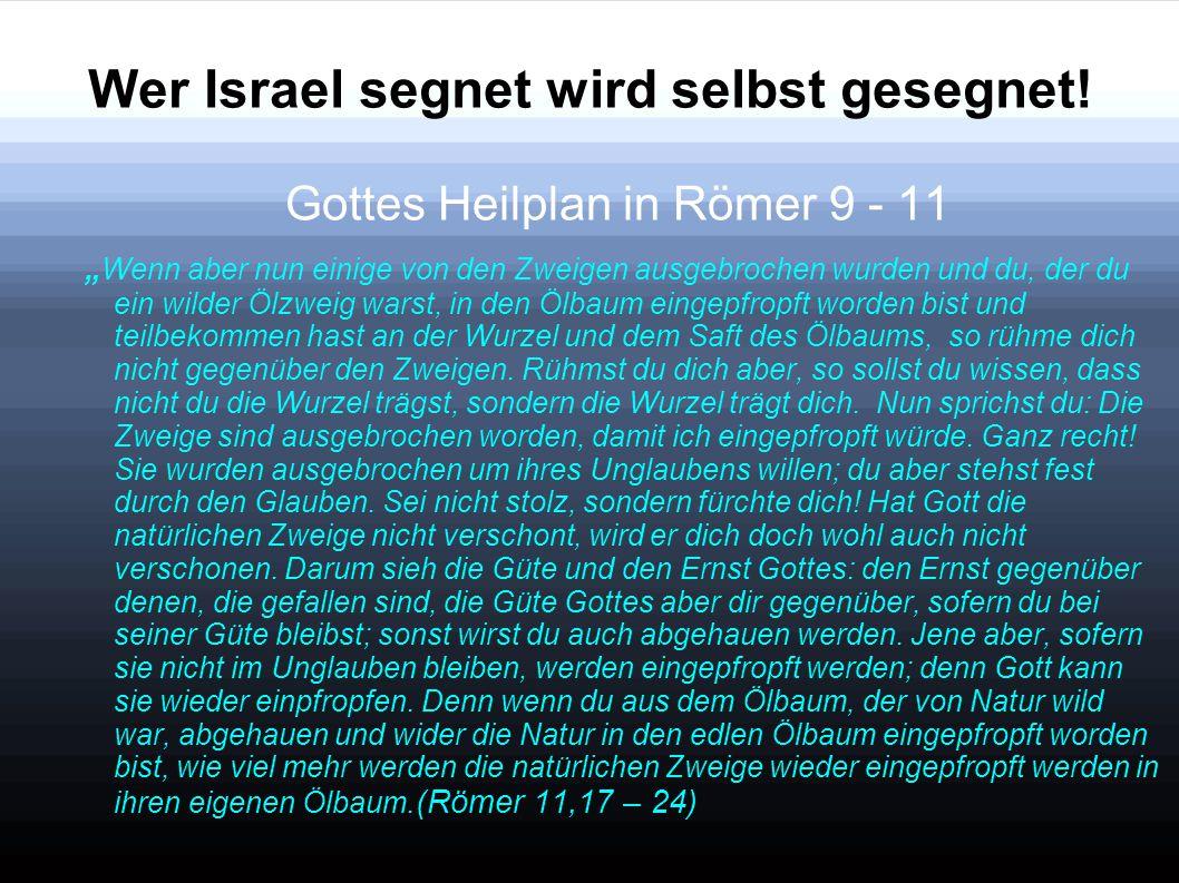 """Wer Israel segnet wird selbst gesegnet! Gottes Heilplan in Römer 9 - 11 """" Wenn aber nun einige von den Zweigen ausgebrochen wurden und du, der du ein"""