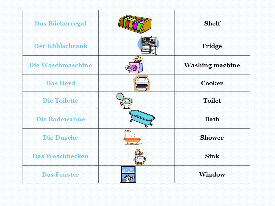 Das BücherregalShelf Der KühlschrankFridge Die WaschmaschineWashing machine Das HerdCooker Die ToiletteToilet Die BadewanneBath Die DuscheShower Das W