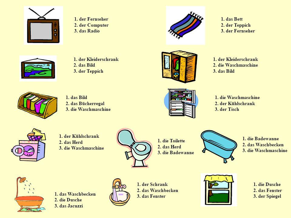 1. der Fernseher 1. das Bett 2. der Computer 2. der Teppich 3. das Radio 3. der Fernseher 1. der Kleiderschrank 2. das Bild 2. die Waschmaschine 3. de