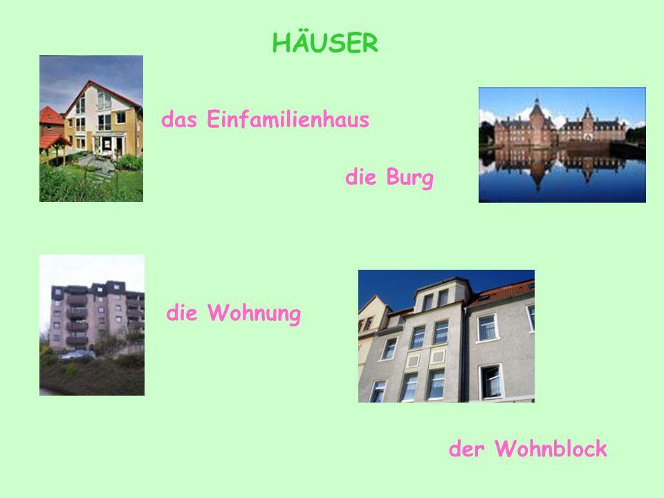 der Bauernhof das Mehrfamilienhaus das Doppelhaus das Reihenhaus