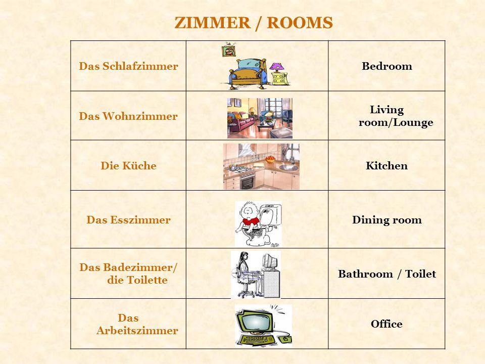 Das SchlafzimmerBedroom Das Wohnzimmer Living room/Lounge Die KücheKitchen Das EsszimmerDining room Das Badezimmer/ die Toilette Bathroom / Toilet Das