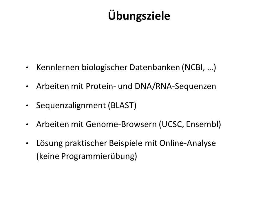 Übungsziele Kennlernen biologischer Datenbanken (NCBI, …) Arbeiten mit Protein- und DNA/RNA-Sequenzen Sequenzalignment (BLAST) Arbeiten mit Genome-Bro