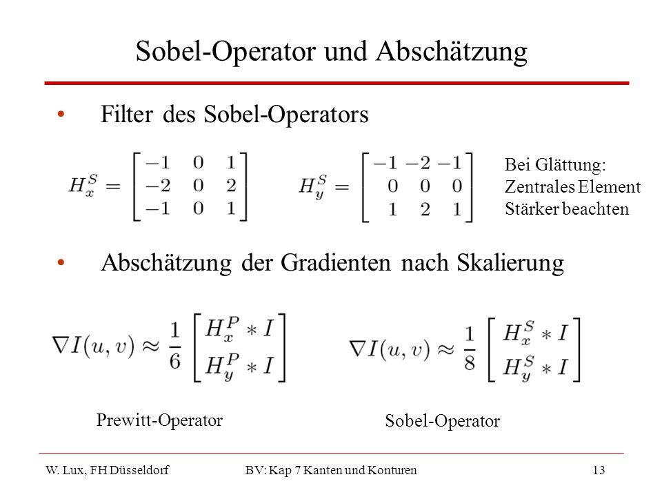 W. Lux, FH Düsseldorf BV: Kap 7 Kanten und Konturen13 Sobel-Operator und Abschätzung Filter des Sobel-Operators Abschätzung der Gradienten nach Skalie