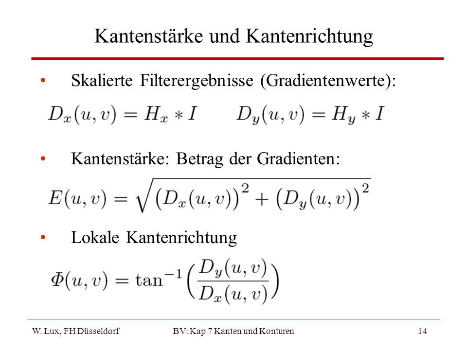 W. Lux, FH Düsseldorf BV: Kap 7 Kanten und Konturen14 Kantenstärke und Kantenrichtung Skalierte Filterergebnisse (Gradientenwerte): Kantenstärke: Betr
