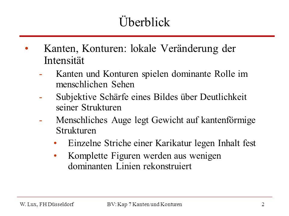 W. Lux, FH Düsseldorf BV: Kap 7 Kanten und Konturen2 Überblick Kanten, Konturen: lokale Veränderung der Intensität -Kanten und Konturen spielen domina