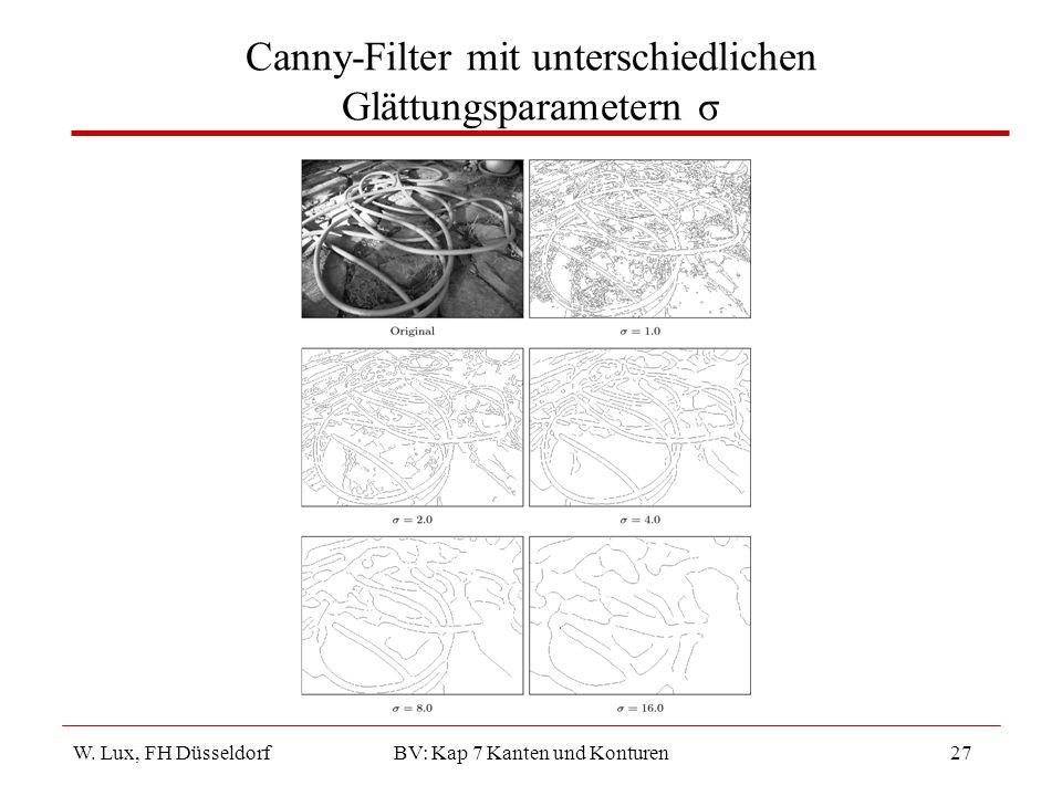 W. Lux, FH Düsseldorf BV: Kap 7 Kanten und Konturen27 Canny-Filter mit unterschiedlichen Glättungsparametern σ