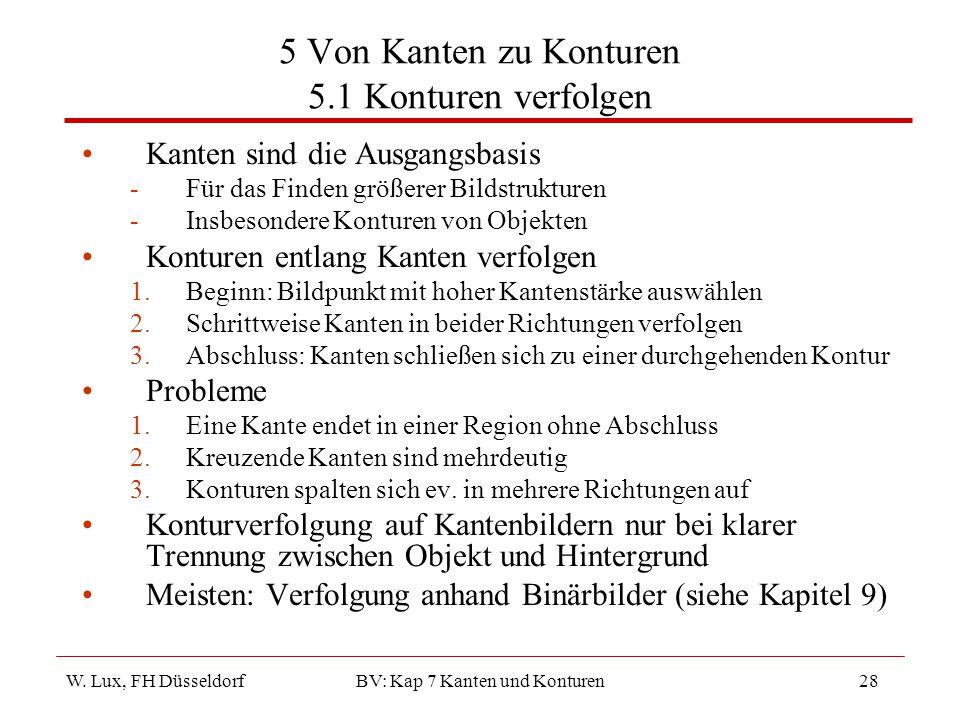 W. Lux, FH Düsseldorf BV: Kap 7 Kanten und Konturen28 5 Von Kanten zu Konturen 5.1 Konturen verfolgen Kanten sind die Ausgangsbasis -Für das Finden gr