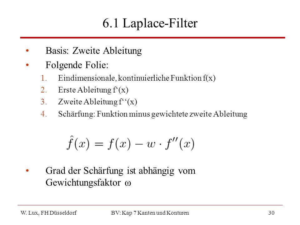 W. Lux, FH Düsseldorf BV: Kap 7 Kanten und Konturen30 6.1 Laplace-Filter Basis: Zweite Ableitung Folgende Folie: 1.Eindimensionale, kontinuierliche Fu
