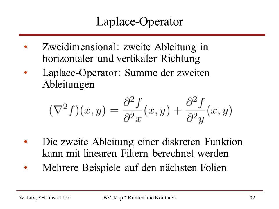 W. Lux, FH Düsseldorf BV: Kap 7 Kanten und Konturen32 Laplace-Operator Zweidimensional: zweite Ableitung in horizontaler und vertikaler Richtung Lapla