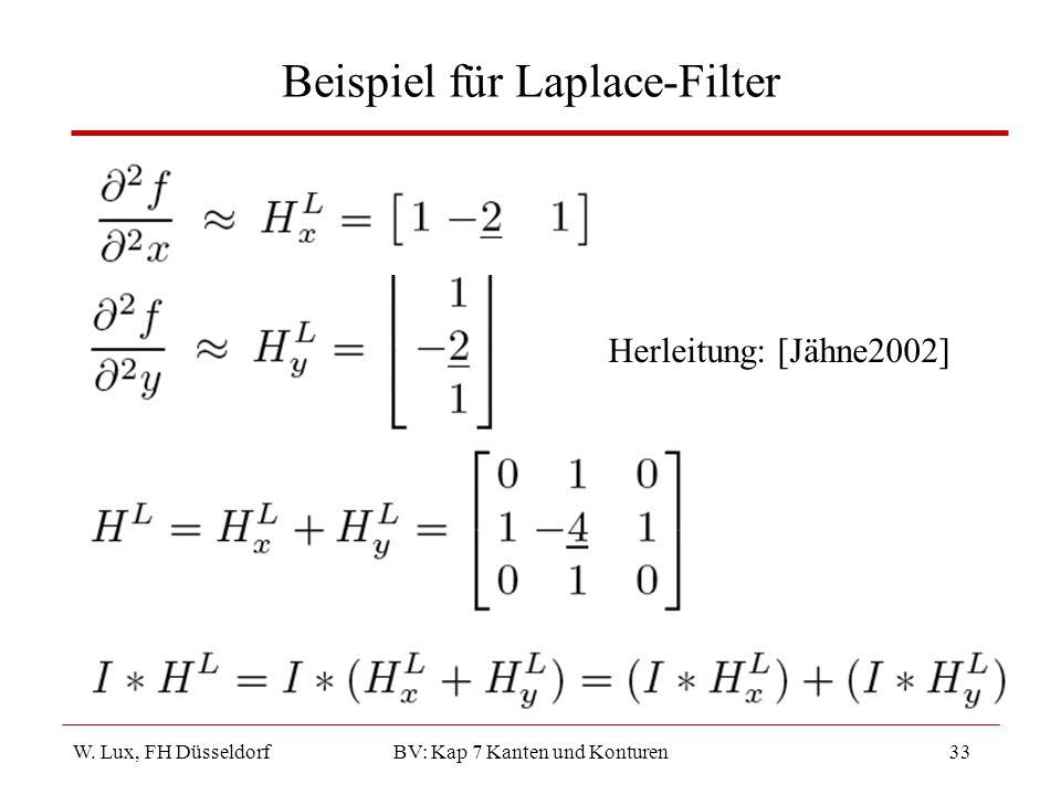 W. Lux, FH Düsseldorf BV: Kap 7 Kanten und Konturen33 Beispiel für Laplace-Filter Herleitung: [Jähne2002]