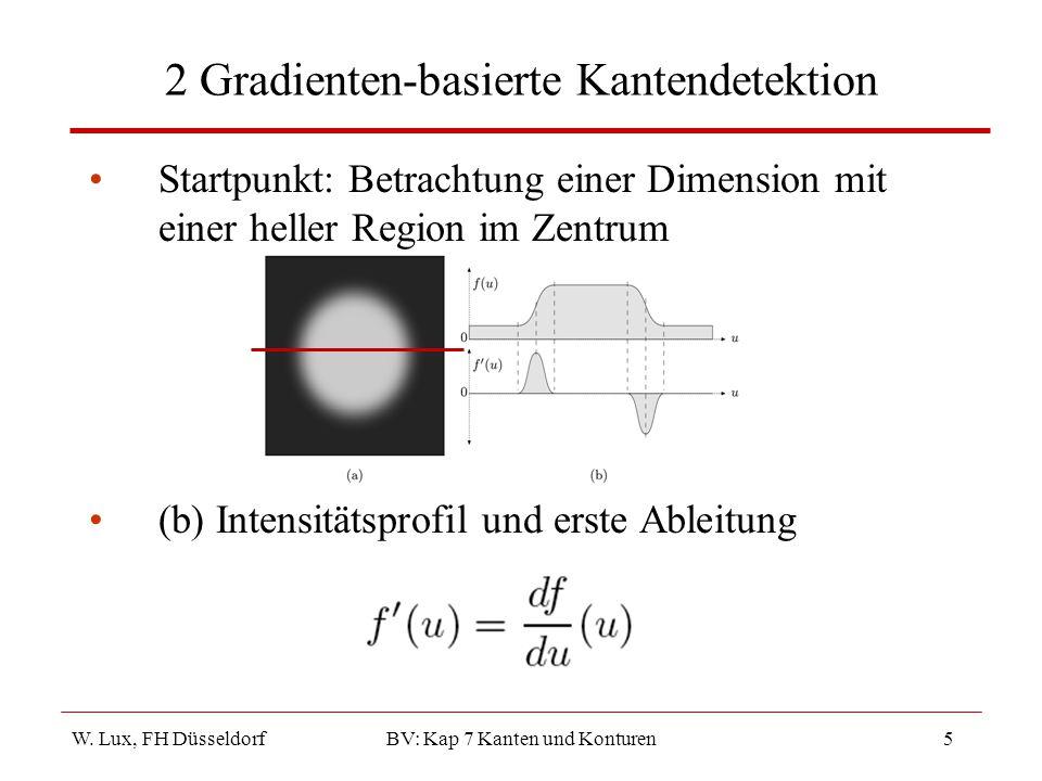 W. Lux, FH Düsseldorf BV: Kap 7 Kanten und Konturen5 2 Gradienten-basierte Kantendetektion Startpunkt: Betrachtung einer Dimension mit einer heller Re