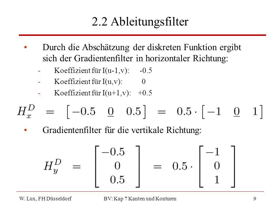 W. Lux, FH Düsseldorf BV: Kap 7 Kanten und Konturen9 2.2 Ableitungsfilter Durch die Abschätzung der diskreten Funktion ergibt sich der Gradientenfilte