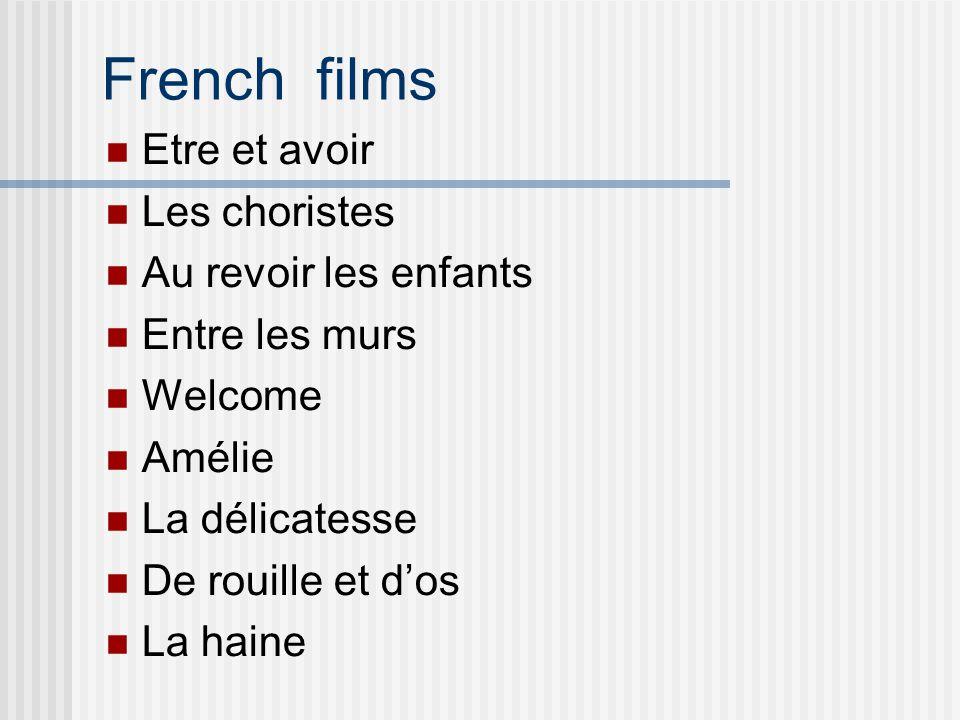 French films Etre et avoir Les choristes Au revoir les enfants Entre les murs Welcome Amélie La délicatesse De rouille et d'os La haine