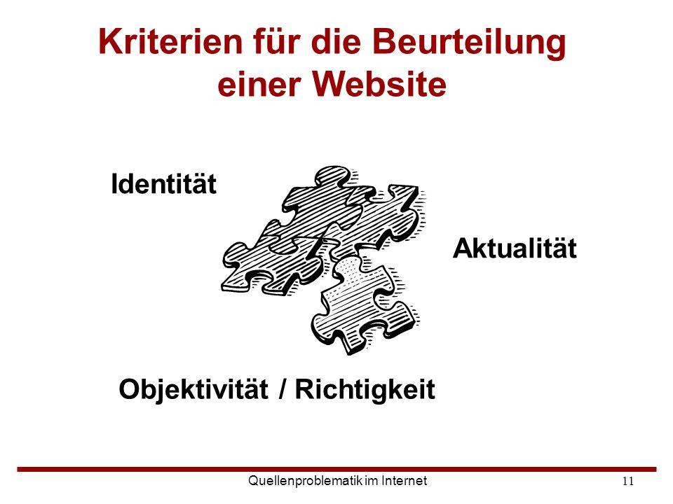 Quellenproblematik im Internet11 Kriterien für die Beurteilung einer Website Objektivität / Richtigkeit Identität Aktualität
