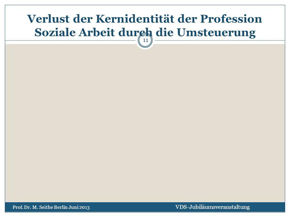 Verlust der Kernidentität der Profession Soziale Arbeit durch die Umsteuerung VDS-Jubiläumsveranstaltung Prof. Dr. M. Seithe Berlin Juni 2013 11