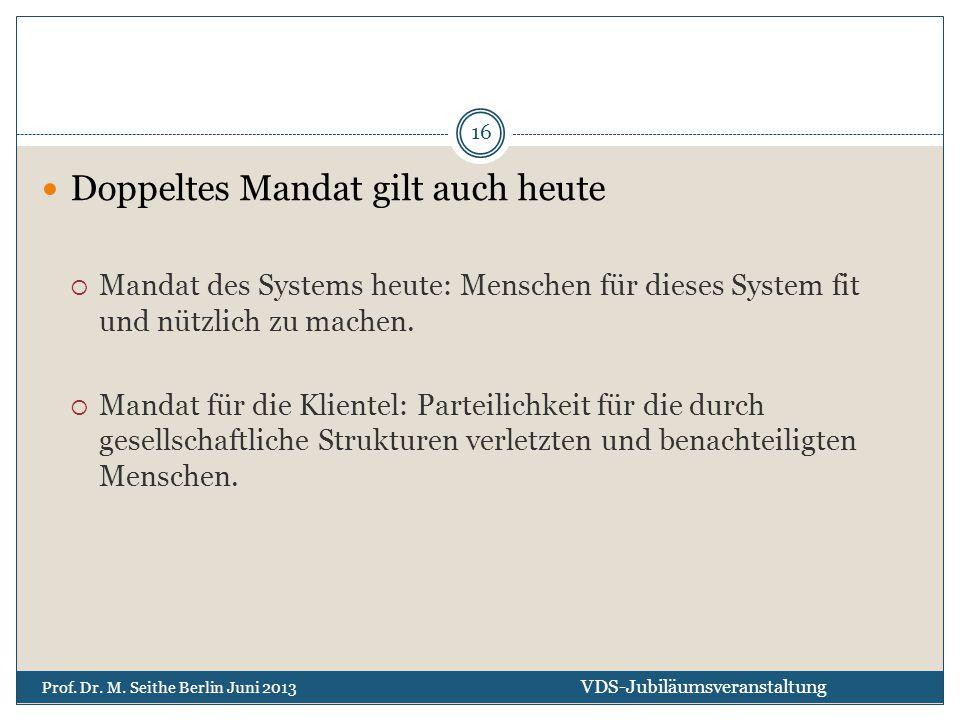Doppeltes Mandat gilt auch heute  Mandat des Systems heute: Menschen für dieses System fit und nützlich zu machen.  Mandat für die Klientel: Parteil