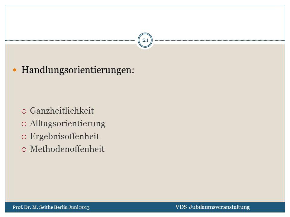 Handlungsorientierungen:  Ganzheitlichkeit  Alltagsorientierung  Ergebnisoffenheit  Methodenoffenheit VDS-Jubiläumsveranstaltung Prof. Dr. M. Seit