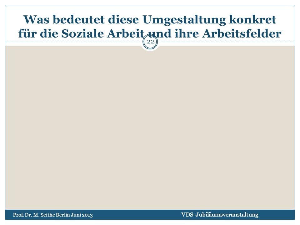 Was bedeutet diese Umgestaltung konkret für die Soziale Arbeit und ihre Arbeitsfelder VDS-Jubiläumsveranstaltung Prof. Dr. M. Seithe Berlin Juni 2013
