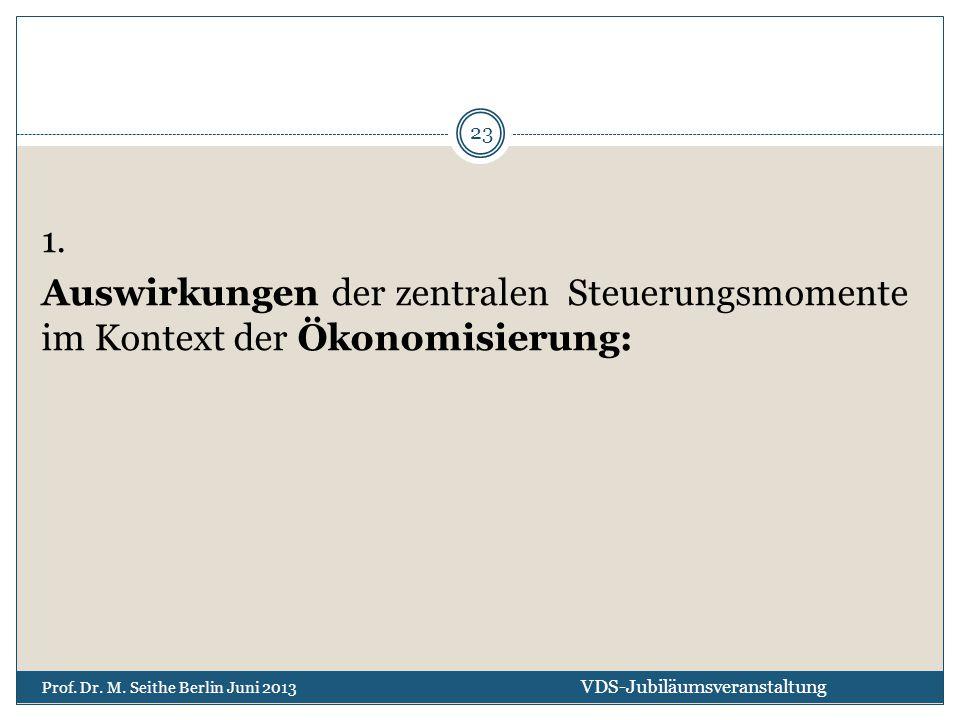 1. Auswirkungen der zentralen Steuerungsmomente im Kontext der Ökonomisierung: VDS-Jubiläumsveranstaltung Prof. Dr. M. Seithe Berlin Juni 2013 23
