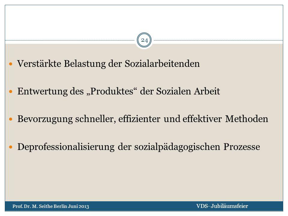 """Verstärkte Belastung der Sozialarbeitenden Entwertung des """"Produktes"""" der Sozialen Arbeit Bevorzugung schneller, effizienter und effektiver Methoden D"""
