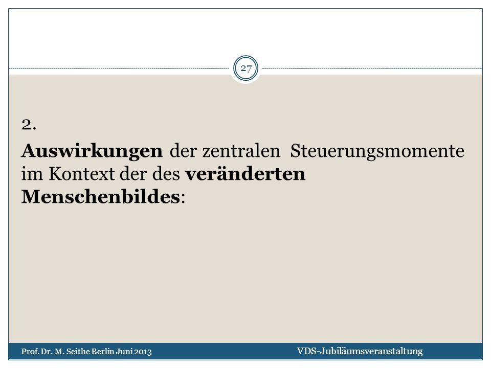 2. Auswirkungen der zentralen Steuerungsmomente im Kontext der des veränderten Menschenbildes: VDS-Jubiläumsveranstaltung Prof. Dr. M. Seithe Berlin J