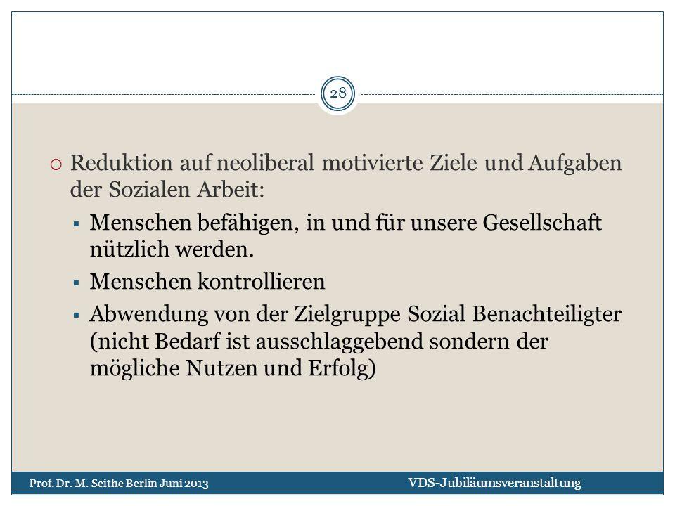 Reduktion auf neoliberal motivierte Ziele und Aufgaben der Sozialen Arbeit:  Menschen befähigen, in und für unsere Gesellschaft nützlich werden. 