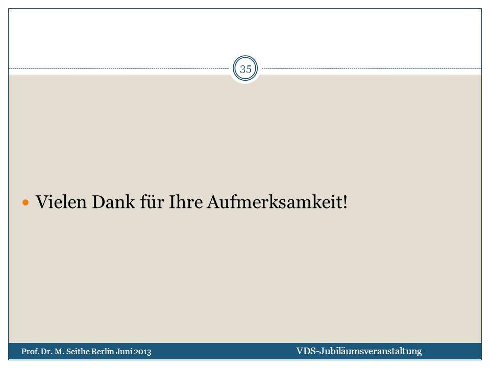 Vielen Dank für Ihre Aufmerksamkeit! VDS-Jubiläumsveranstaltung Prof. Dr. M. Seithe Berlin Juni 2013 35