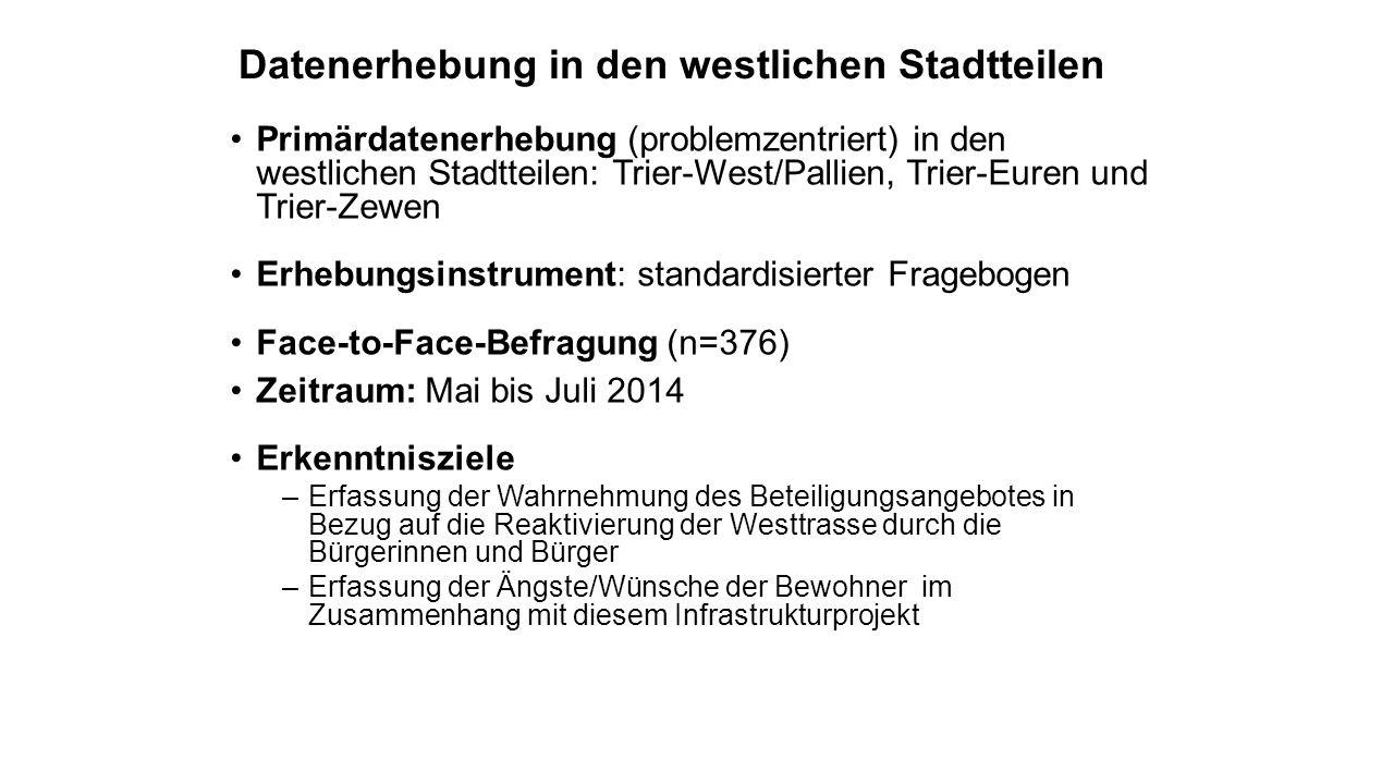 Datenerhebung in den westlichen Stadtteilen Primärdatenerhebung (problemzentriert) in den westlichen Stadtteilen: Trier-West/Pallien, Trier-Euren und