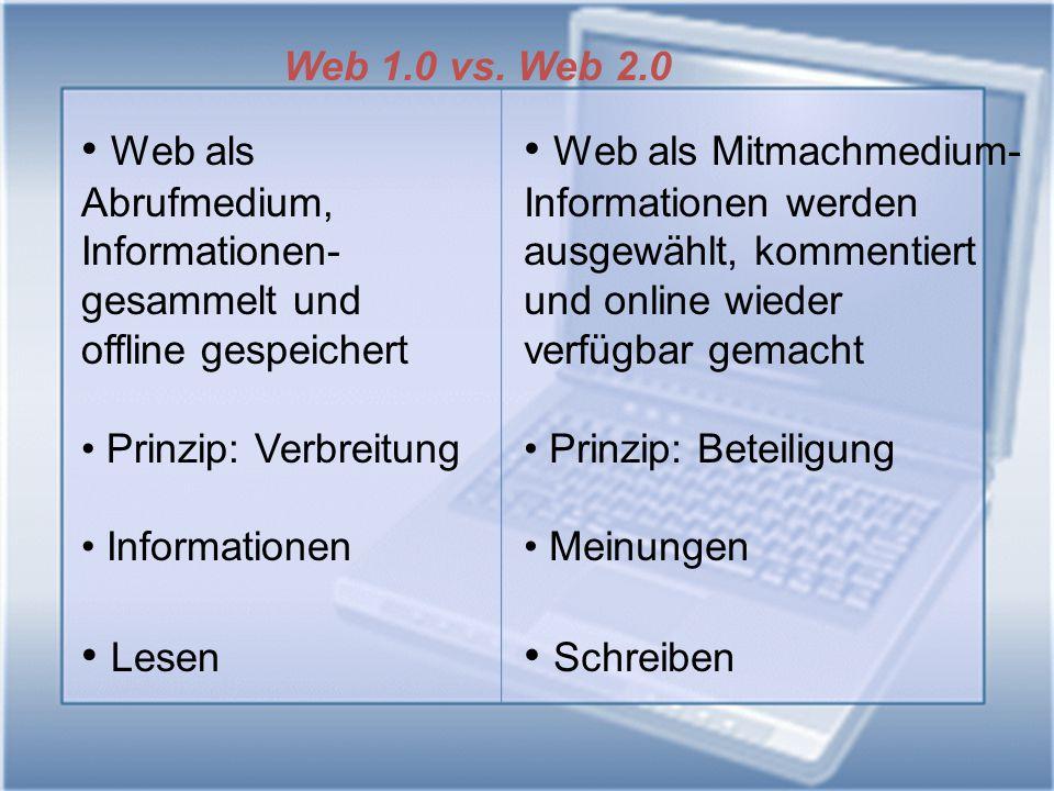 Web 1.0 vs. Web 2.0 Web als Abrufmedium, Informationen- gesammelt und offline gespeichert Prinzip: Verbreitung Informationen Lesen Web als Mitmachmedi