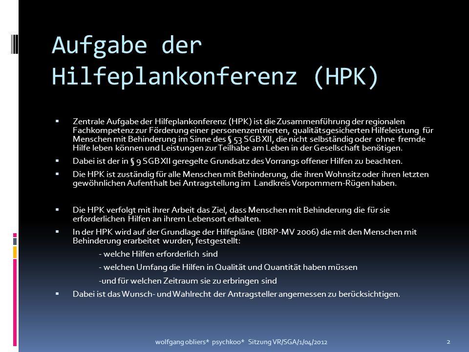 Aufgabe der Hilfeplankonferenz (HPK)  Zentrale Aufgabe der Hilfeplankonferenz (HPK) ist die Zusammenführung der regionalen Fachkompetenz zur Förderun