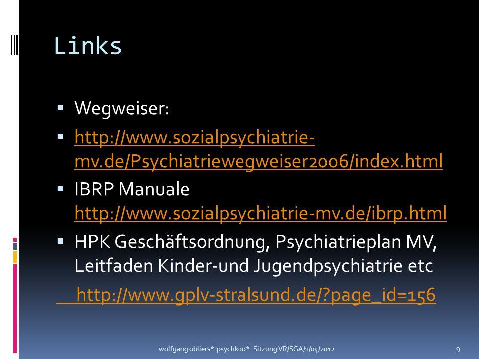Links  Wegweiser:  http://www.sozialpsychiatrie- mv.de/Psychiatriewegweiser2006/index.html http://www.sozialpsychiatrie- mv.de/Psychiatriewegweiser2