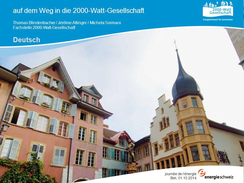 auf dem Weg in die 2000-Watt-Gesellschaft Thomas Blindenbacher / Jérôme Attinger / Michela Sormani Fachstelle 2000-Watt-Gesellschaft Deutsch journée d