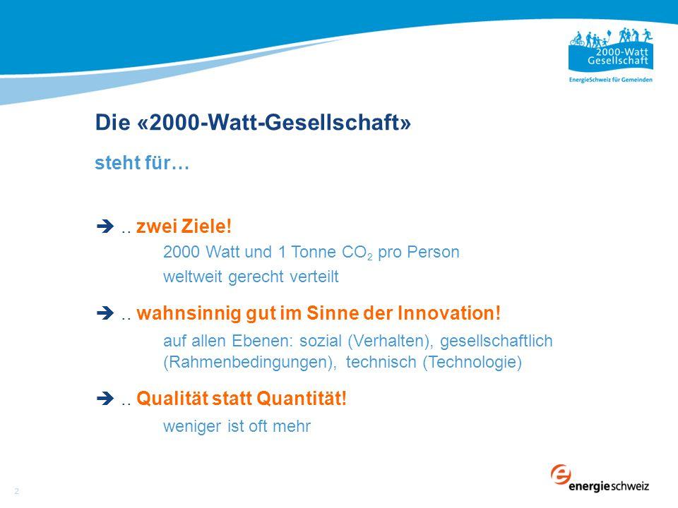 Die «2000-Watt-Gesellschaft» steht für… .. zwei Ziele.
