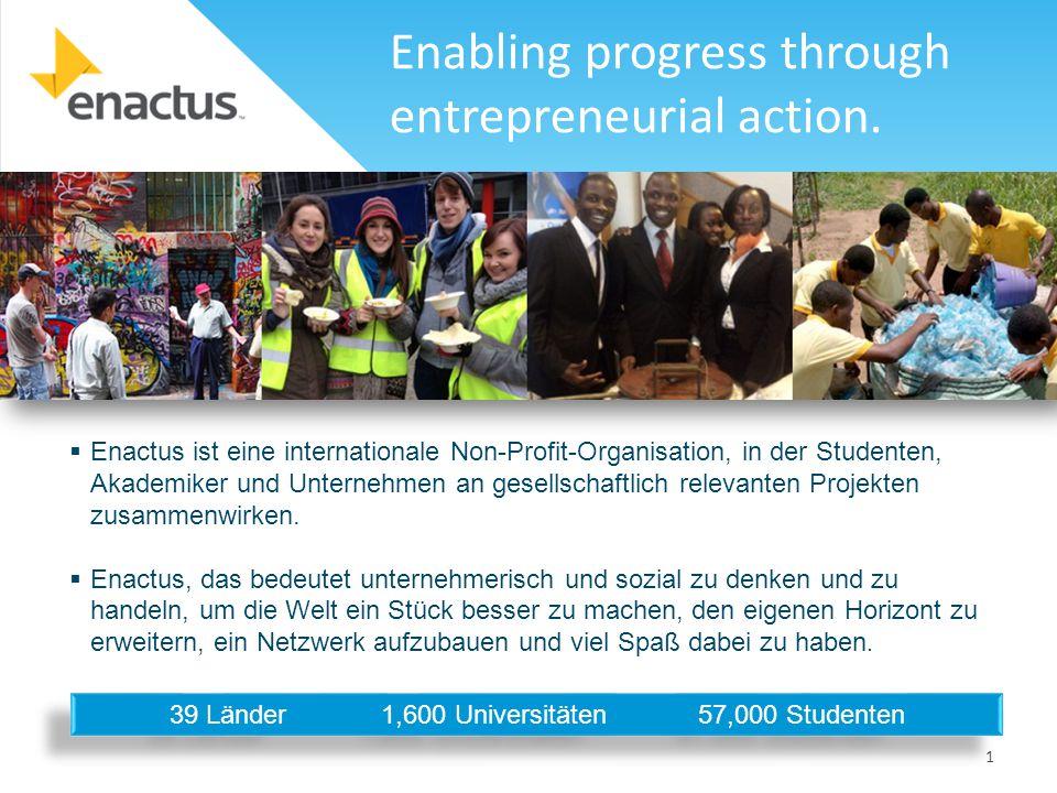 1  Enactus ist eine internationale Non-Profit-Organisation, in der Studenten, Akademiker und Unternehmen an gesellschaftlich relevanten Projekten zusammenwirken.