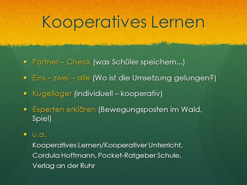 Kooperatives Lernen Partner – Check (was Schüler speichern...) Partner – Check (was Schüler speichern...) Eins – zwei – alle (Wo ist die Umsetzung gel