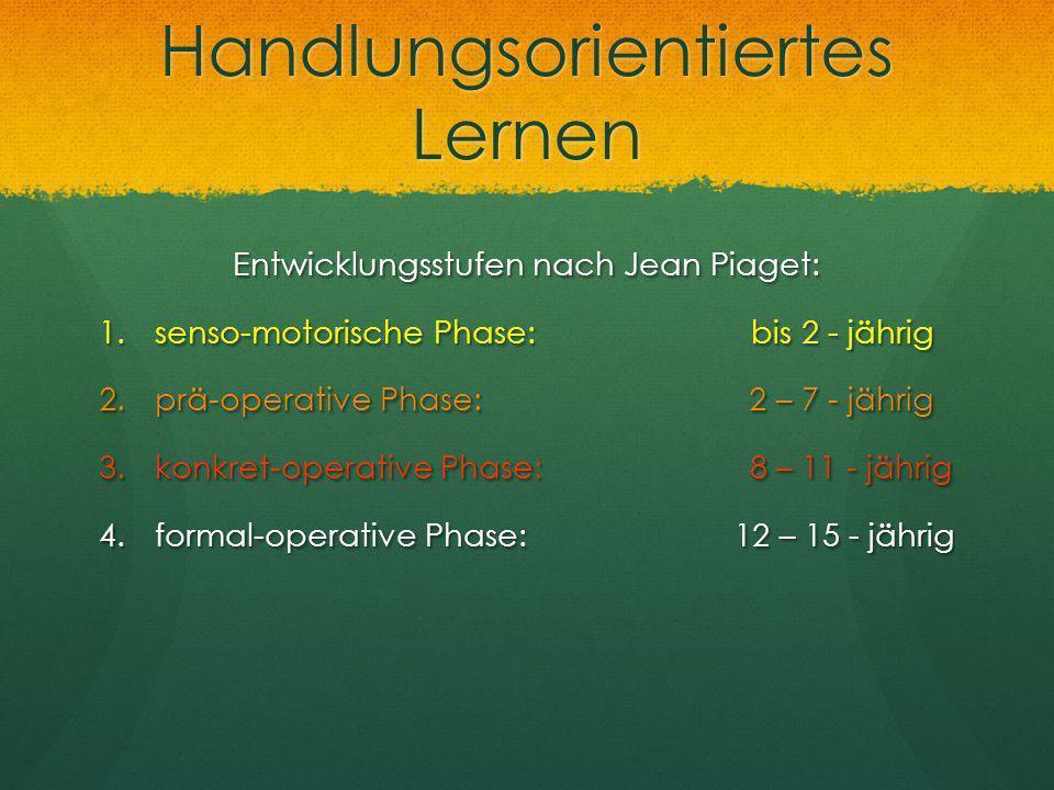 Handlungsorientiertes Lernen Entwicklungsstufen nach Jean Piaget: 1.senso-motorische Phase: bis 2 - jährig 2.prä-operative Phase: 2 – 7 - jährig 3.kon