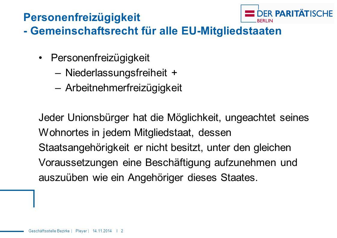 Geschäftsstelle Bezirke | Pleyer | 14.11.2014 I 2 Personenfreizügigkeit - Gemeinschaftsrecht für alle EU-Mitgliedstaaten Personenfreizügigkeit –Nieder