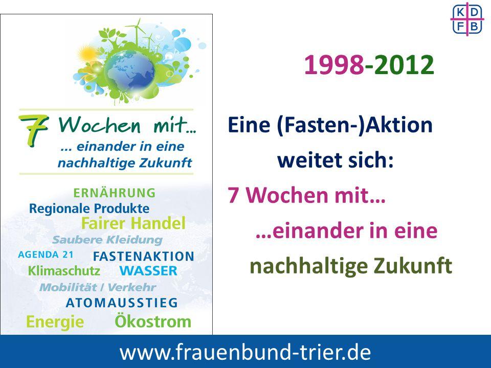www.frauenbund-trier.de 1998-2012 Eine (Fasten-)Aktion weitet sich: 7 Wochen mit… …einander in eine nachhaltige Zukunft