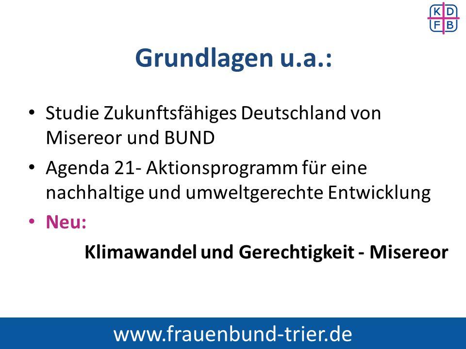 Grundlagen u.a.: Studie Zukunftsfähiges Deutschland von Misereor und BUND Agenda 21- Aktionsprogramm für eine nachhaltige und umweltgerechte Entwicklu