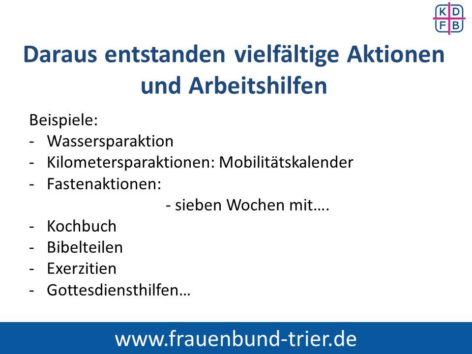 Sieben Wochen mit … Produkten aus der Region und dem Fairen Handel Seit 1998 im Bistum Trier: www.frauenbund-trier.de