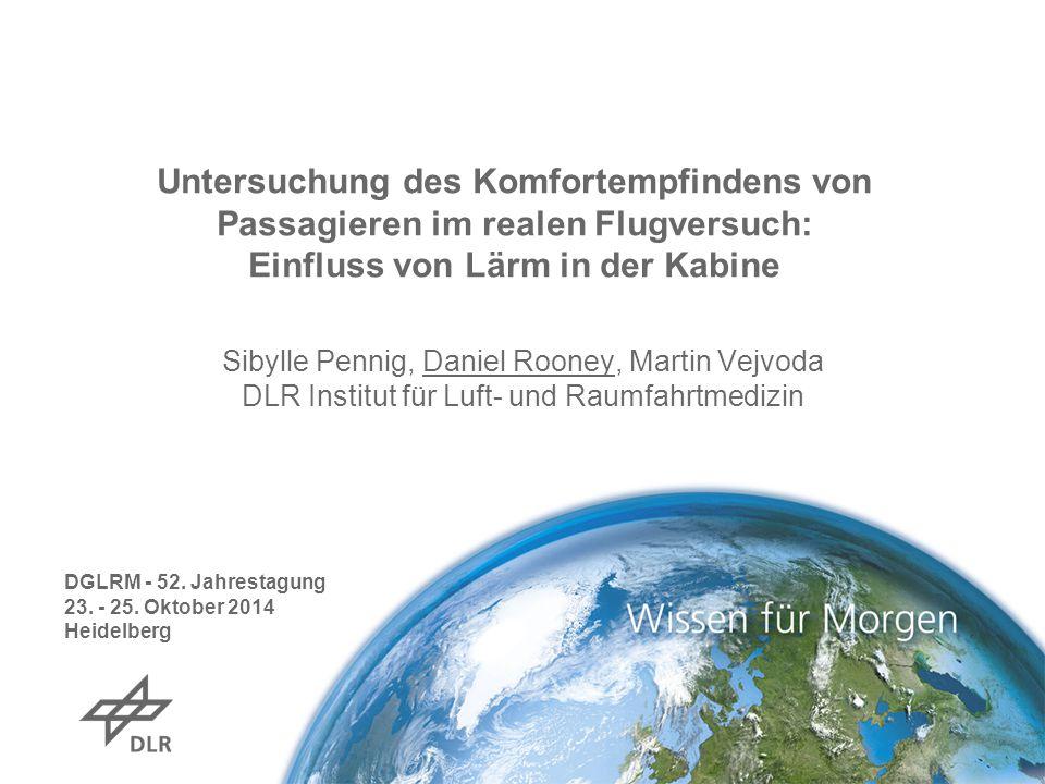 Untersuchung des Komfortempfindens von Passagieren im realen Flugversuch: Einfluss von Lärm in der Kabine Sibylle Pennig, Daniel Rooney, Martin Vejvod