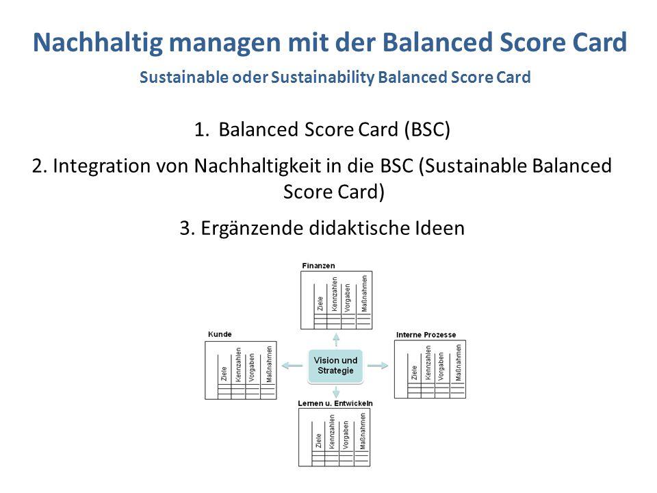 1.Balanced Score Card (BSC) 2. Integration von Nachhaltigkeit in die BSC (Sustainable Balanced Score Card) 3. Ergänzende didaktische Ideen Nachhaltig