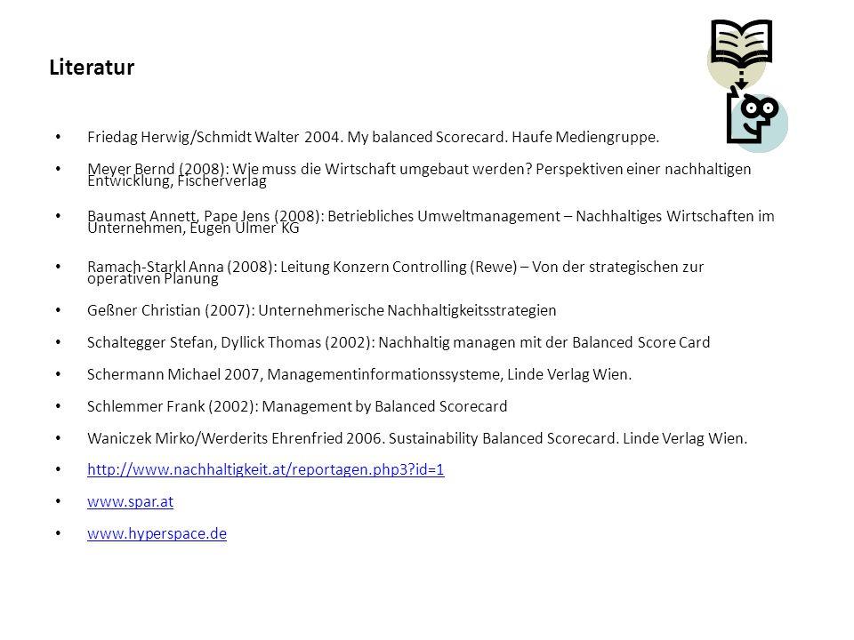 Literatur Friedag Herwig/Schmidt Walter 2004. My balanced Scorecard. Haufe Mediengruppe. Meyer Bernd (2008): Wie muss die Wirtschaft umgebaut werden?