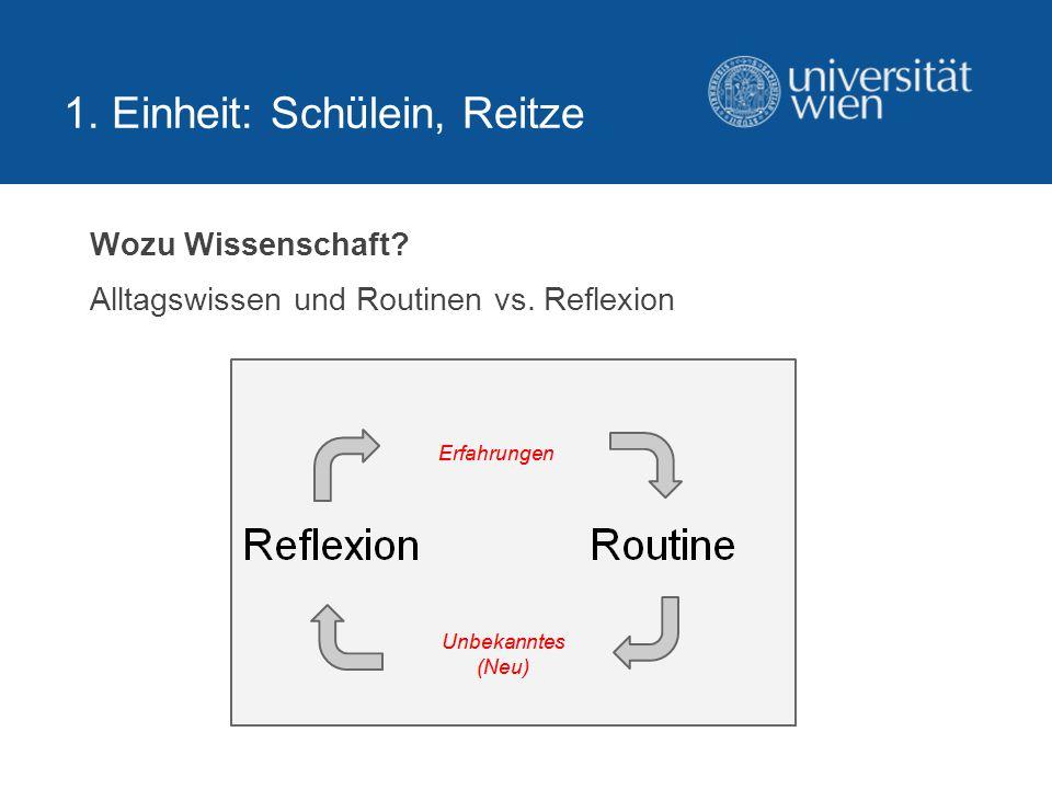 1.Einheit: Schülein, Reitze Wozu Wissenschaft.
