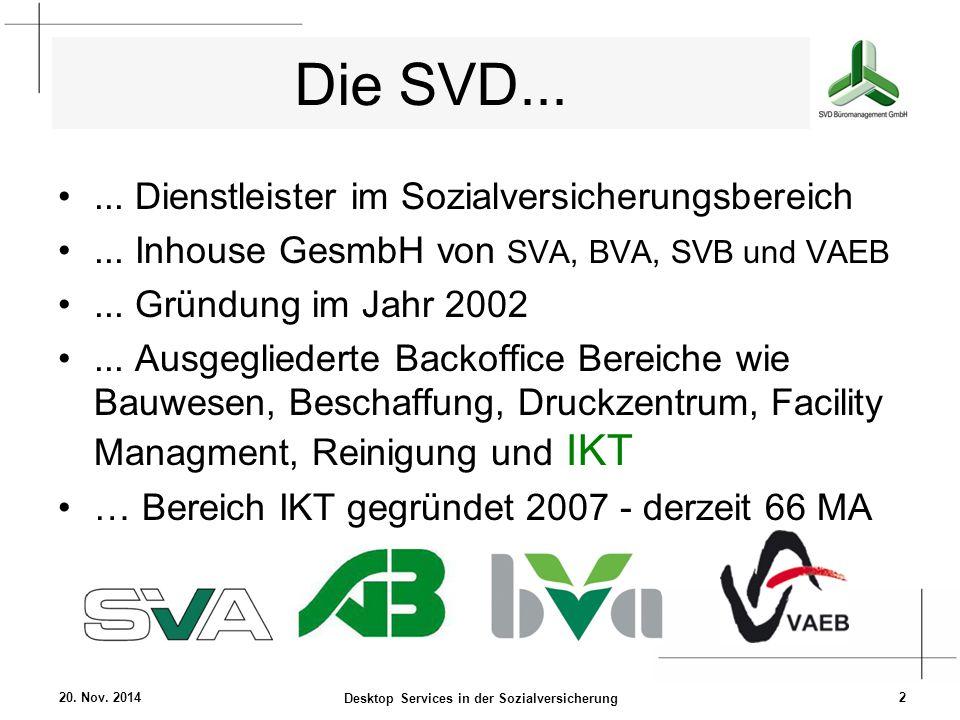 Die SVD...... Dienstleister im Sozialversicherungsbereich... Inhouse GesmbH von SVA, BVA, SVB und VAEB... Gründung im Jahr 2002... Ausgegliederte Back