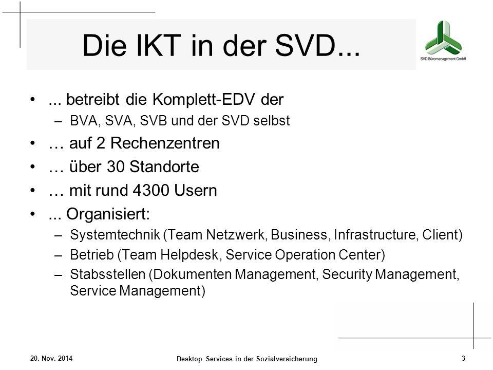 Die IKT in der SVD...... betreibt die Komplett-EDV der –BVA, SVA, SVB und der SVD selbst … auf 2 Rechenzentren … über 30 Standorte … mit rund 4300 Use