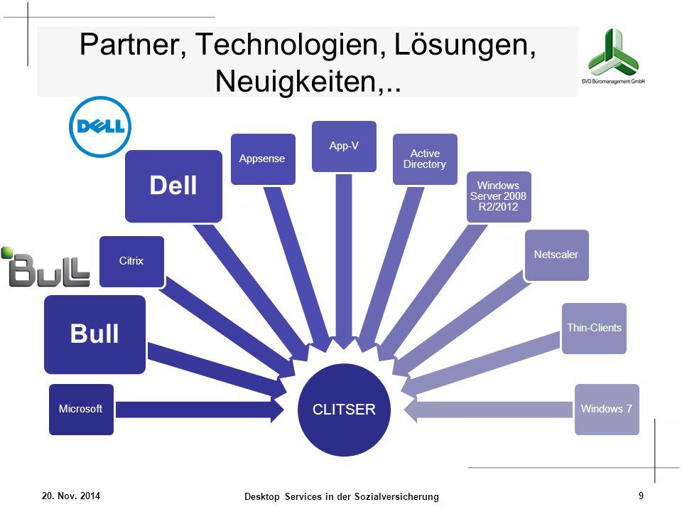 Partner, Technologien, Lösungen, Neuigkeiten,.. CLITSER Microsoft Bull Citrix Dell AppsenseApp-V Active Directory Windows Server 2008 R2/2012 Netscale
