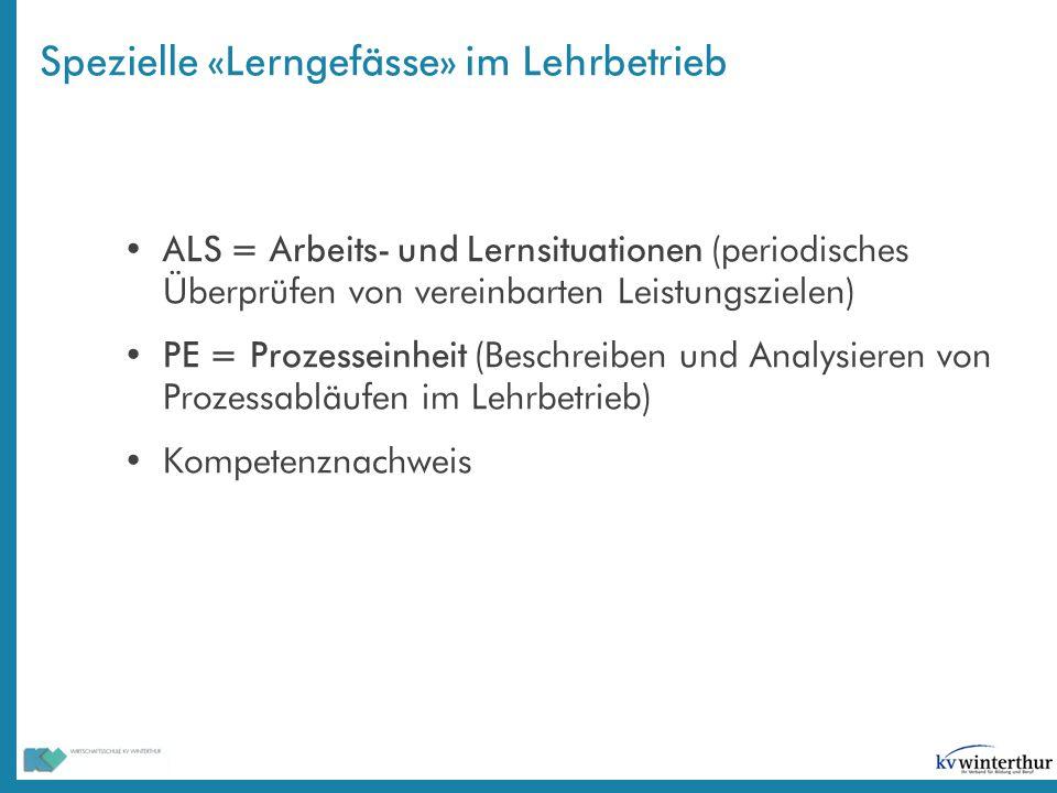 Spezielle «Lerngefässe» im Lehrbetrieb ALS = Arbeits- und Lernsituationen (periodisches Überprüfen von vereinbarten Leistungszielen) PE = Prozesseinhe