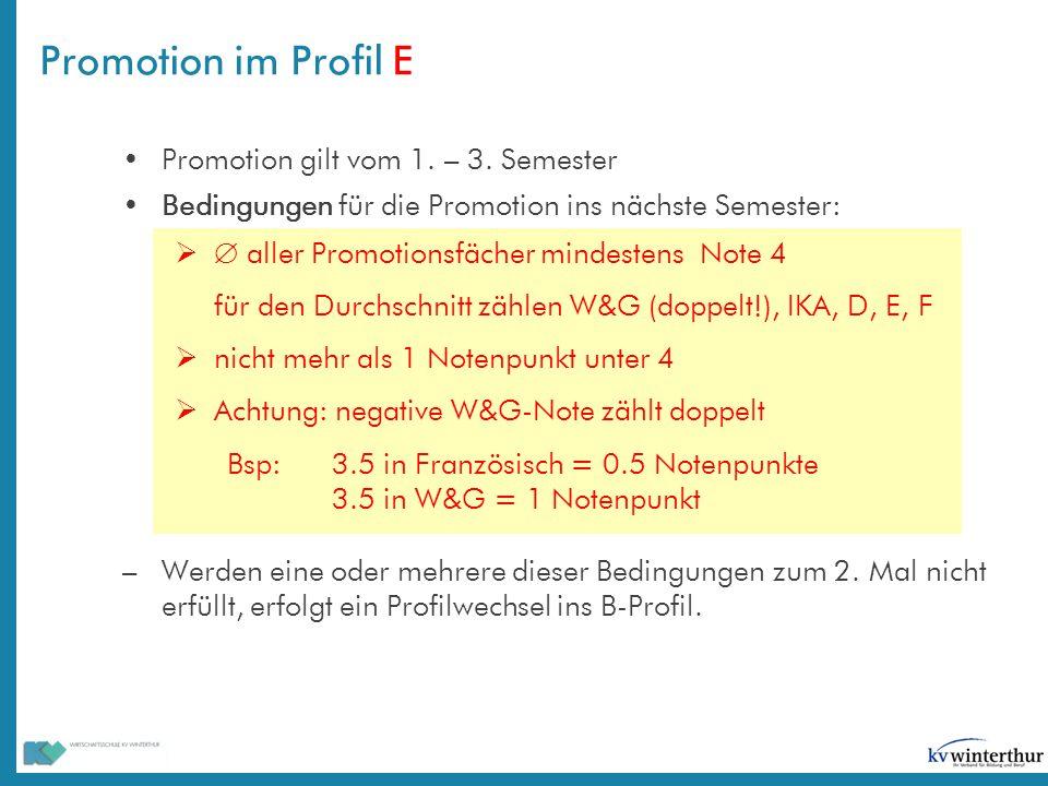 Promotion gilt vom 1. – 3. Semester Bedingungen für die Promotion ins nächste Semester:   aller Promotionsfächer mindestens Note 4 für den Durchschn