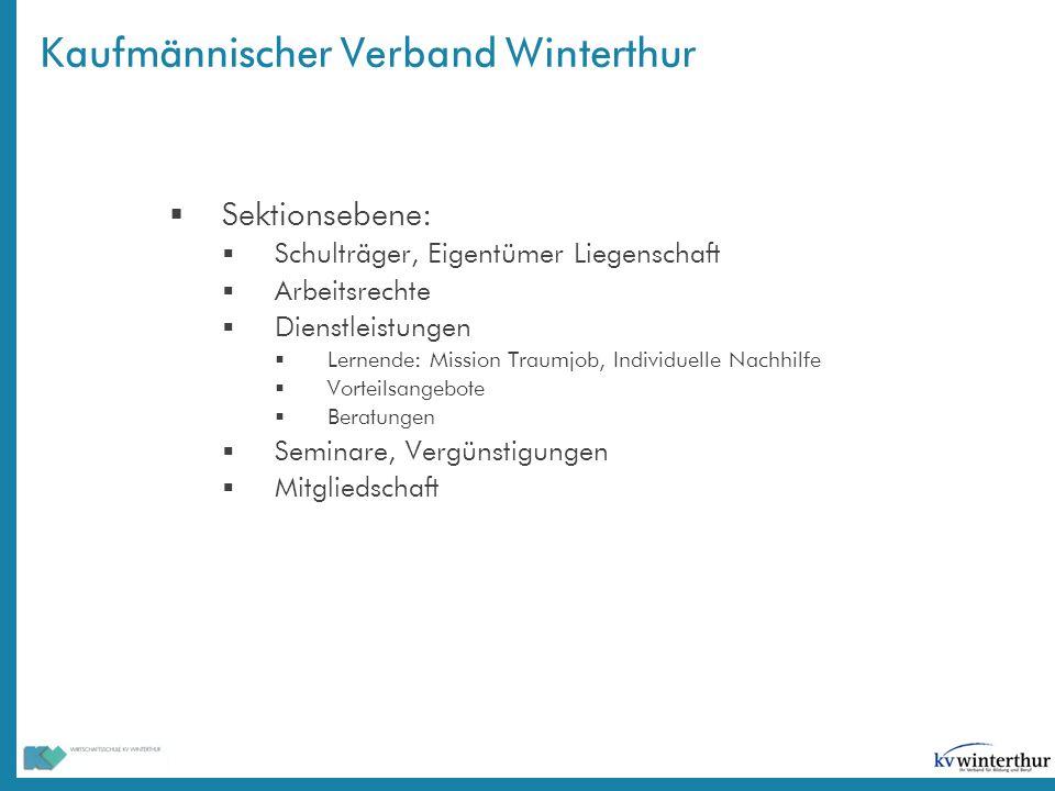 Kaufmännischer Verband Winterthur  Sektionsebene:  Schulträger, Eigentümer Liegenschaft  Arbeitsrechte  Dienstleistungen  Lernende: Mission Traum
